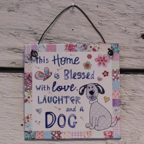 Tin Hanging Sign - Home Blessed Dog