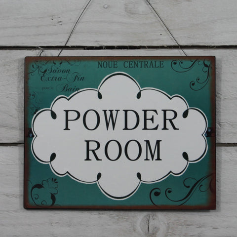 Vintage Tin Hanging Sign - Powder Room