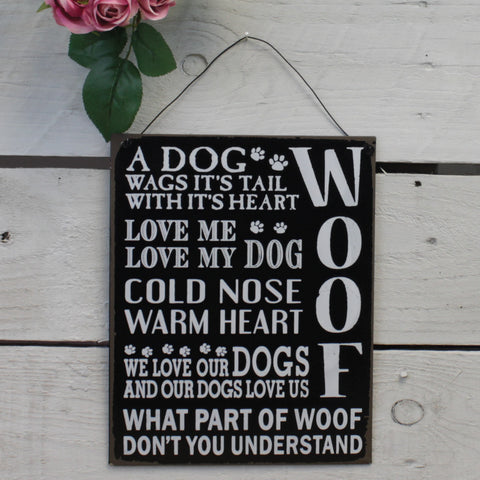 Tin Hanging Sign - A Dog Wags it's Tail with it's Heart