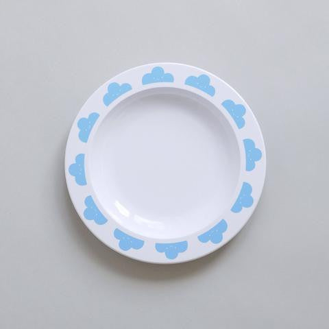 Buddy and Bear - Blue Happy Clouds Plate - BubbleChops - 1