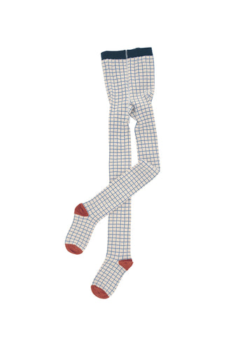 Tinycottons - Grid Tights (Beige/Blue) - BubbleChops