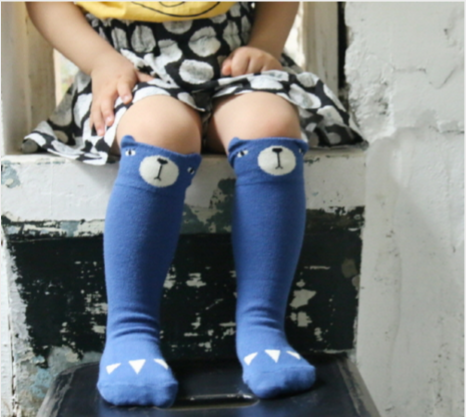 Mini Dressing - Bear Knee Socks in Blue - BubbleChops - 1