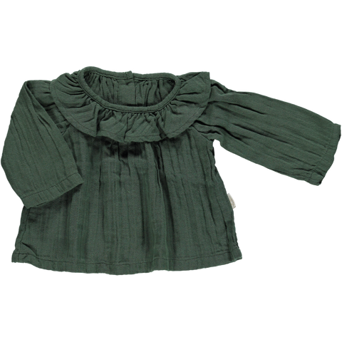 Poudre Organic - Green Blouse with collar - BubbleChops - 1