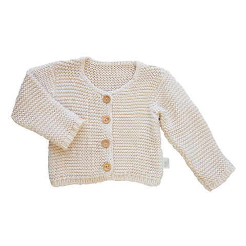 Poudre Organic - Knitted Cardigan in Neutral - BubbleChops - 1