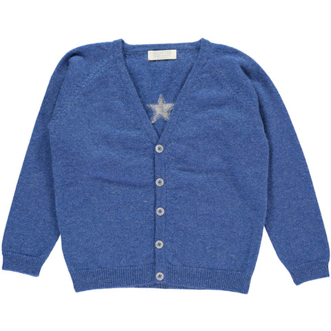 Olivier Baby & Kids - Blue Cashmere Cardigan with Small Star - BubbleChops - 1