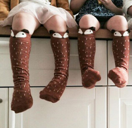 Mini Dressing - Raccoon Knee Socks in Brown