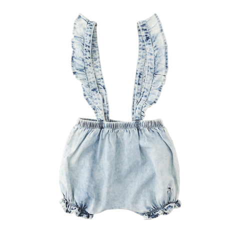 Tocoto Vintage - Washed Denim Culottes (Girl & Baby)