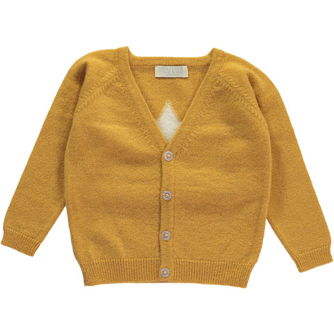 Olivier Baby & Kids - Mustard Cashmere Cardigan with Star - BubbleChops - 1