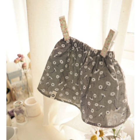 Arim Closet - Grey Floral Skirt with Bloomers