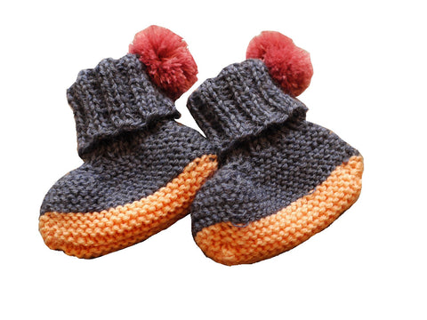 Petite Albion - Hand Knit Pom Pom Booties (Exclusive Dark Blue & Peach) - BubbleChops - 1
