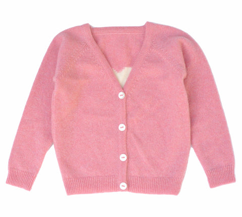 Olivier Baby & Kids - Rose Cashmere Cardigan with Heart - BubbleChops - 1
