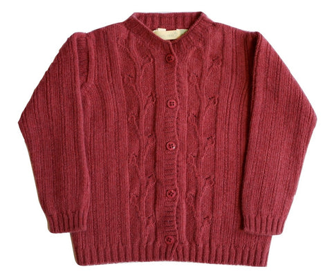 Plumeti Rain -Burgundy Leaves Cashmere & Wool Cardigan - BubbleChops