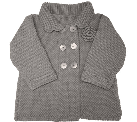 Aravore - Retro Grey Coat with Corsage (UK Exclusive) - BubbleChops