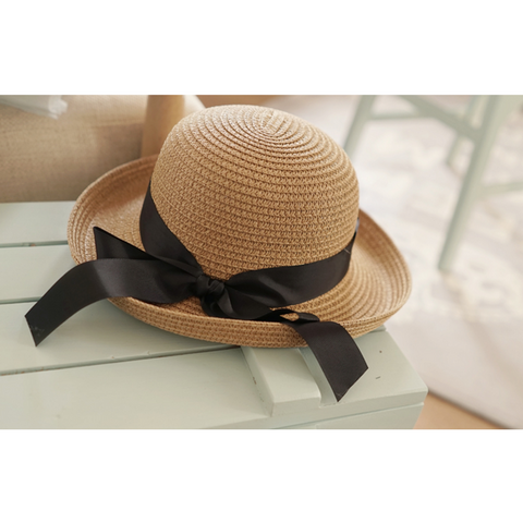 Arim Closet - Black Ribbon Straw Hat