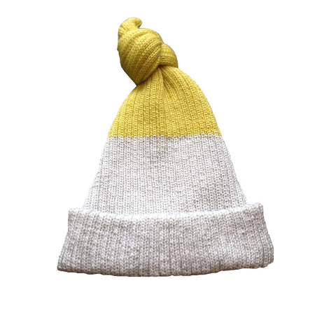 Petite Albion - Baby Top Knot Hat (Exclusive Light Grey & Yellow) - BubbleChops