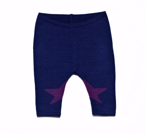 Roly Pony - Cobalt Blue Star Knit Leggings - BubbleChops