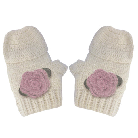 Aravore - Vintage Mittens with Pink Flowers - BubbleChops