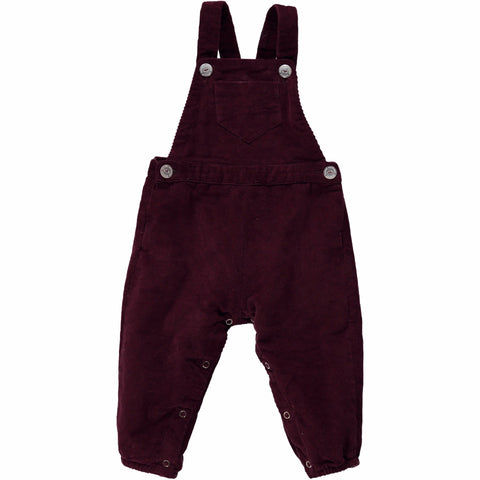 Olivier Baby & Kids - Liberty Burgundy Cord/Wool Dungarees - BubbleChops - 1