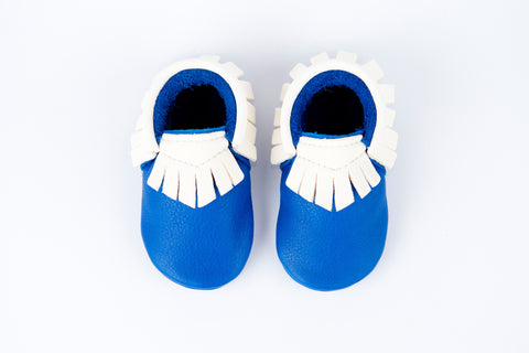 Amy & Ivor Exclusive Electric Blue/White Traditional Moccasins - BubbleChops - 1