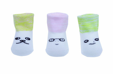 Petites Pattes - Faces Socks in Pink & Green - BubbleChops