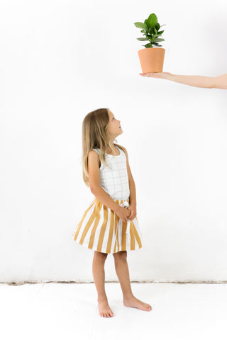 Tinycottons - White & Camel Striped Skirt - BubbleChops - 1