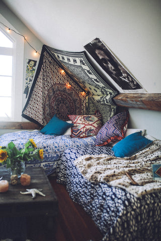 Tie dye Bohemian home decor