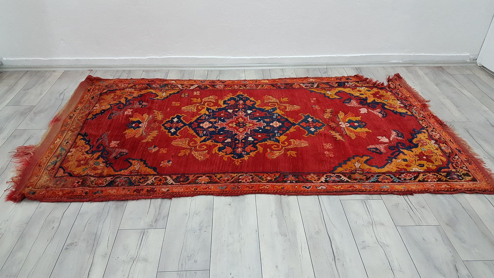 Antique Turkish Mighri Rug Fethiye Carpet Rare Find