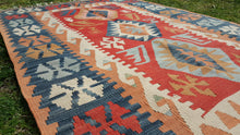 Turkish Flatweave Kilim Rug Blue and Red