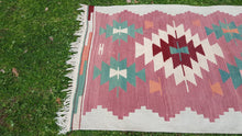 Turkish Kilim Rug with Geometrical Patterns Southwestern Style