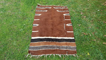Brown Goat Hair Prayer Kilim Rug