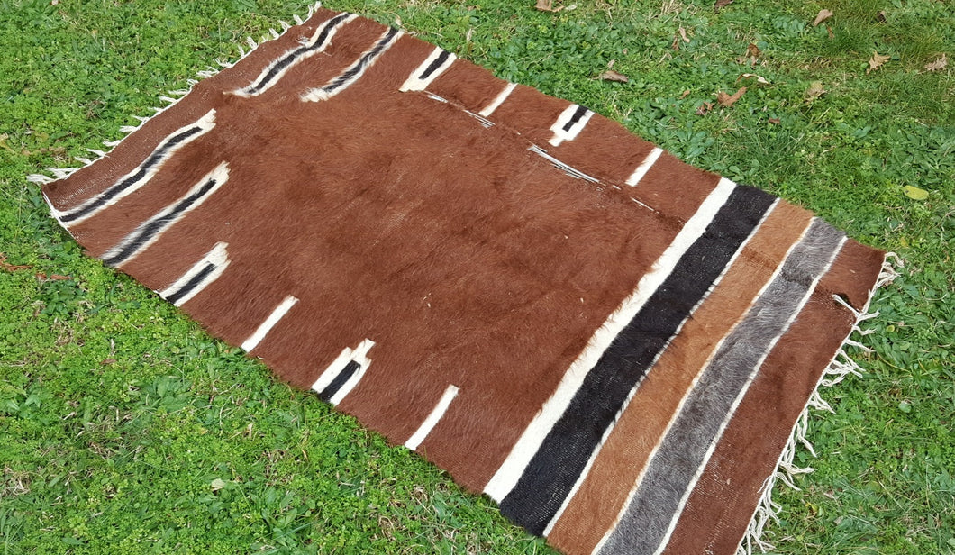 Brown Goat Hair Prayer Kilim Rug $89