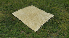 Beige Shaggy Turkish Kilim Square Rug