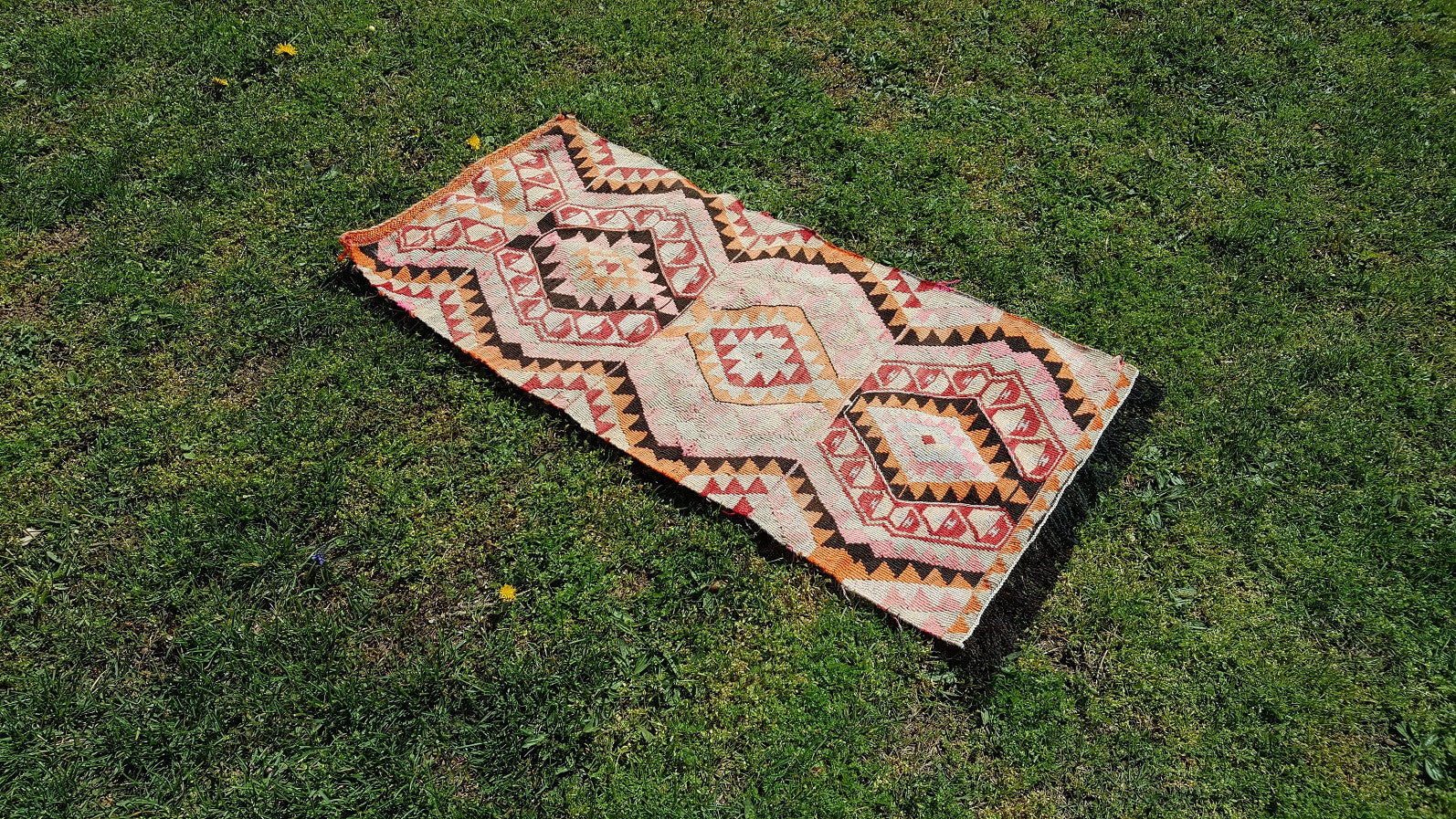 Small Tribal Turkish Kilim Rug Beige on Black