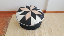 Decorative Turkish Pouf with Lamb Leather