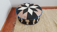 Circle Leather Pouf Handmade