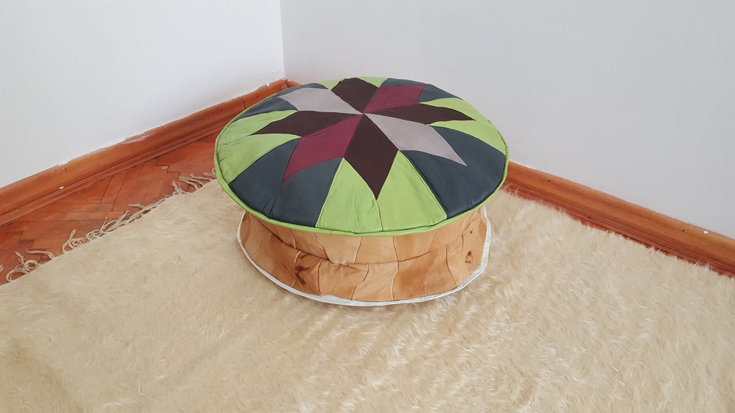Leather Pouf Green Color Handmade