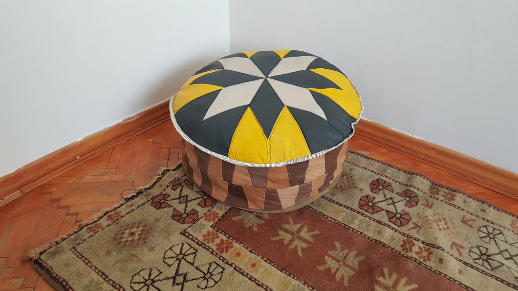 Geniune Leather Pouf
