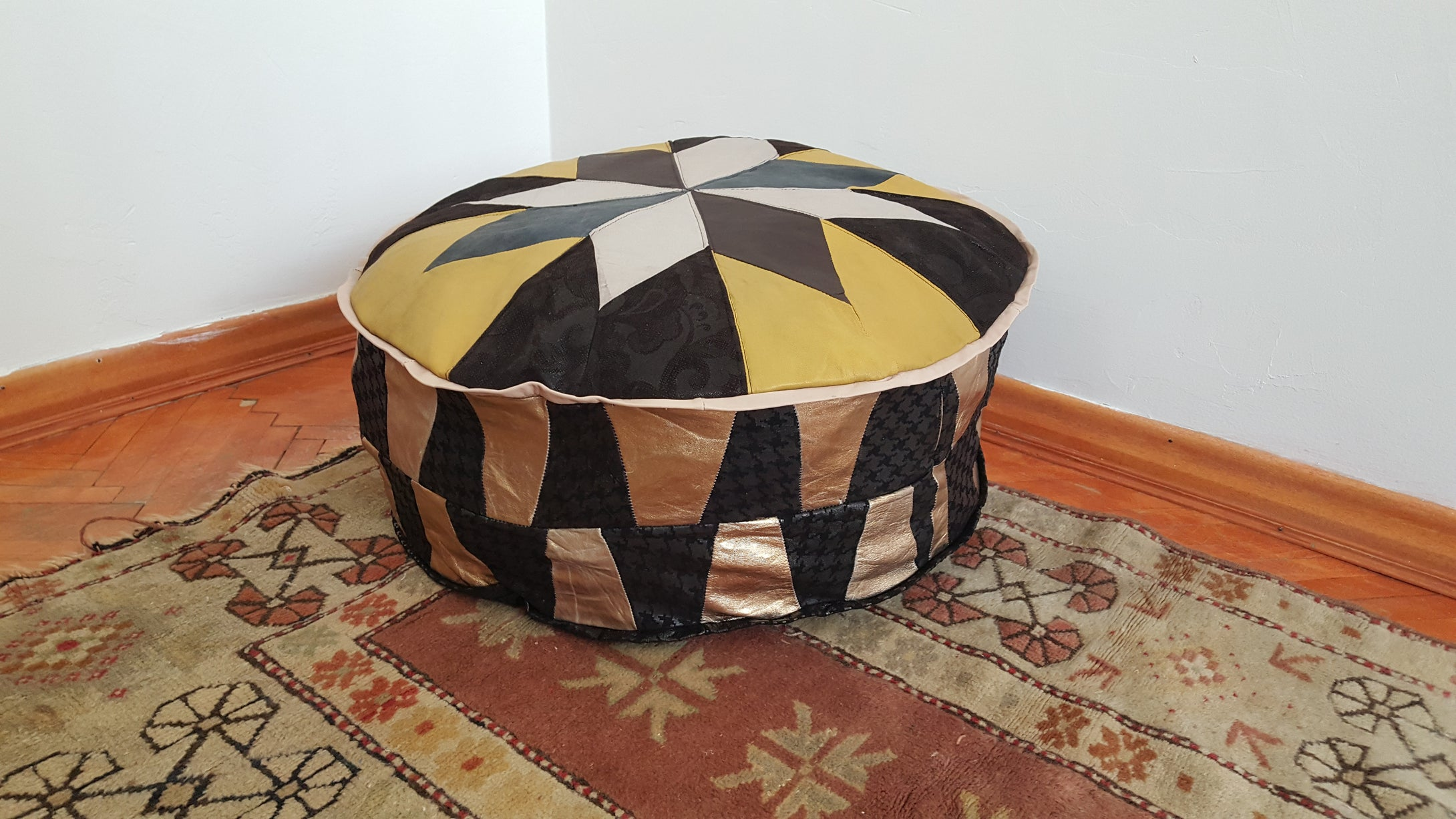 Round Pouf Genuine Turkish Leather