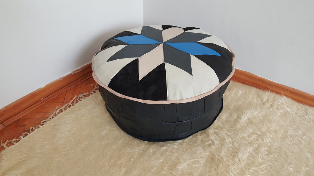 Blue and White Decorative Pouf