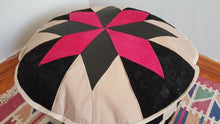 Leather Pouf Pink and Black Colour