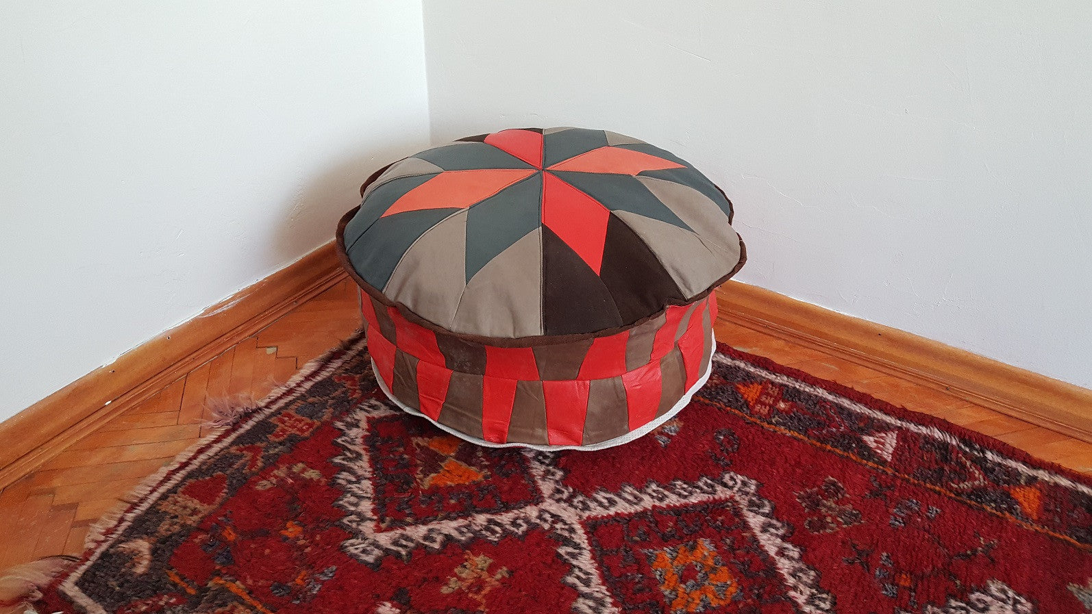 Round Leather Pouf Brick Colour