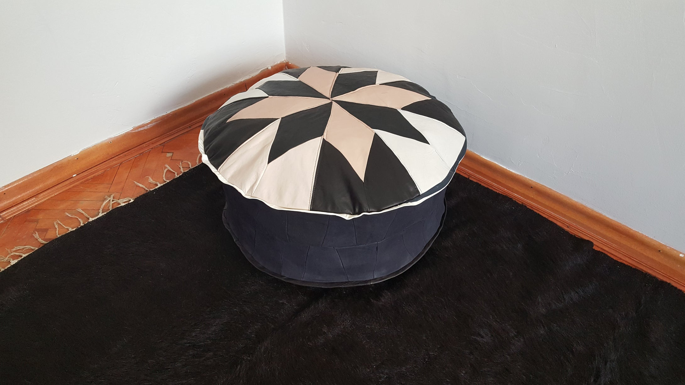 Black and White Leather Pouf Decore