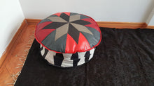 Grey and Red Colour Geometric Patterned Pouf
