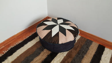 Leather Pouf with Bronze and White Colour