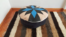 Blue and Black Deco Pouf