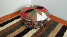 Leather Pouf Leopard Print Decorative