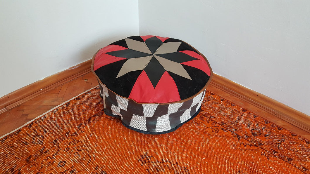 Leather Pouf Red and Black