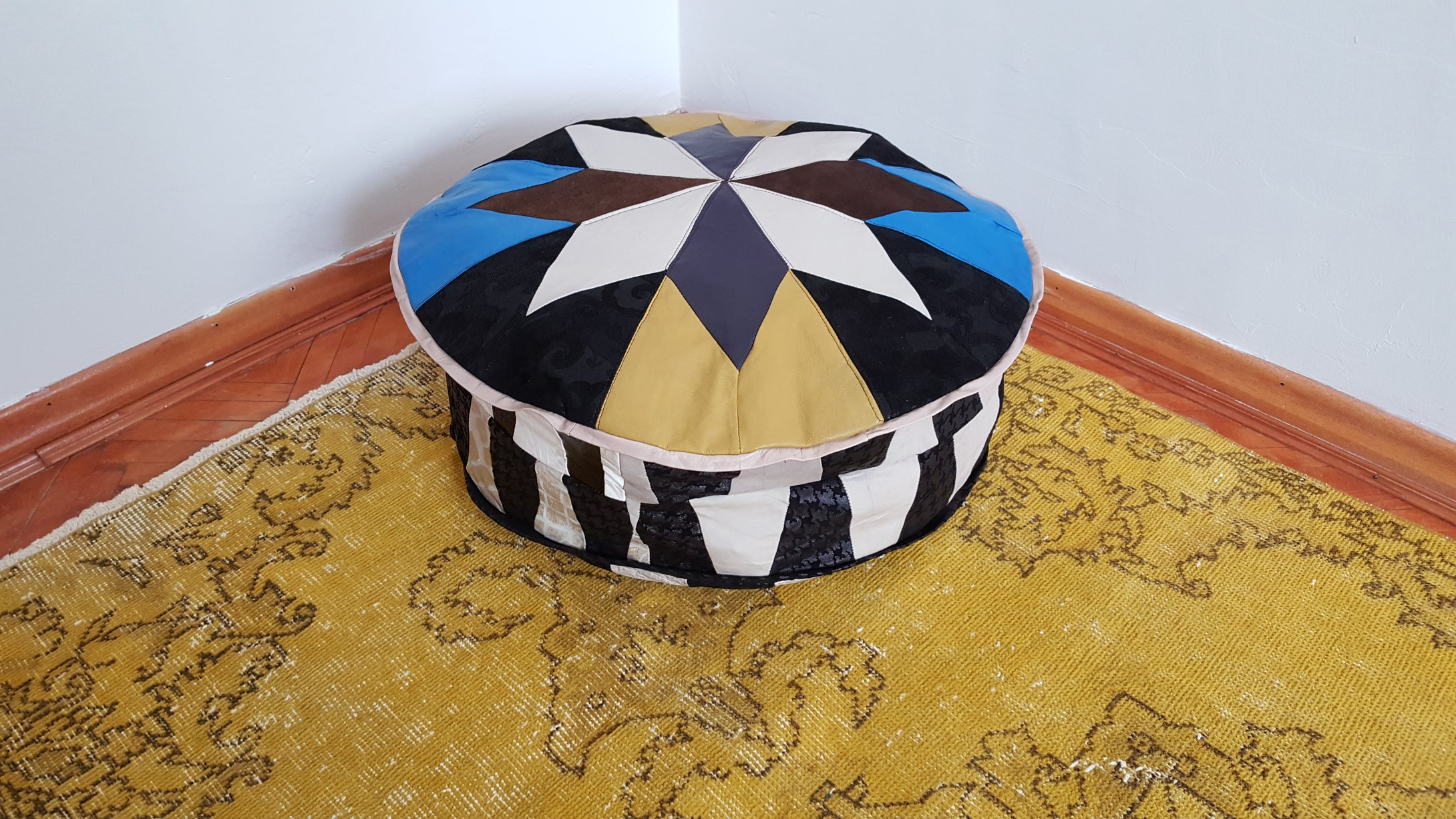 Beautiful Leather Pouf Yellow and Black