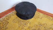 Handmade Leather Pouf Black Colour