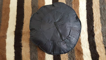 Black Pouf with Geometric Design